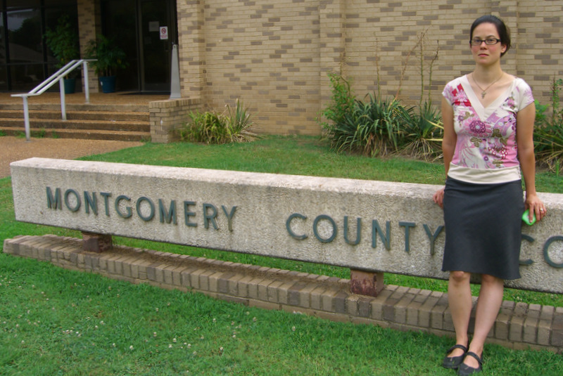 Lili Ibara in front of the Montgomery County Courthouse