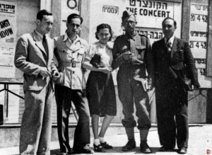 Menachem Begin with Irgun comrades in 1948