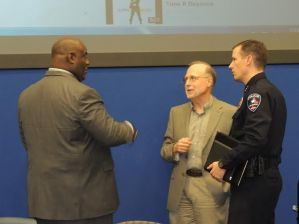 Alan Bean (center) in conversation with Rev. Dwight McKissic (Left) and Arlington Police Chief, Will Johnson.