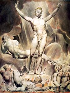 William Blake's rendering of Lucifer in hell.