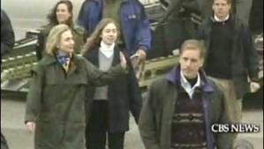 Hillary Clinton crossing the Bosnian tarmac under sniper fire.